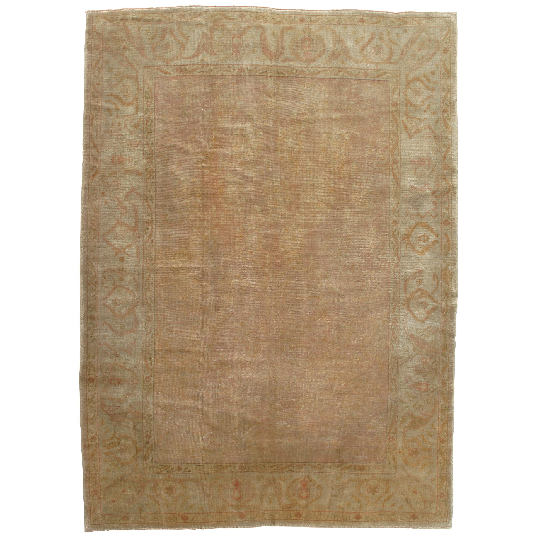 Antique Oushak Carpet, Handmade Turkish Oriental Rug, Pastel, Pale, Soft Colors