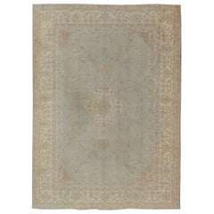 Antique Oushak Carpet in Pale Gray Blue, Taupe, Pink, Ivory and Light Salmon