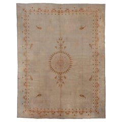 Antique Oushak Carpet, Ivory Field, Orange Accents, circa 1920s