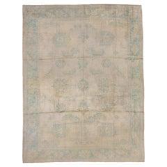Antique Oushak Carpet, Ivory Field, Turquoise Borders