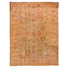 Antique Oushak Carpet, Mint Green Field, Light Pink Borders, Orange Accents