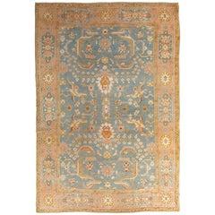Antique Oushak Carpet, Oriental Rug, Handmade Blue/Grey, Ivory, Peach