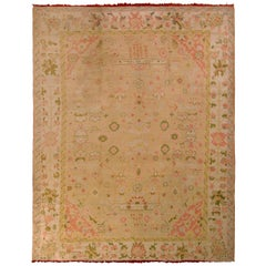 Antique Oushak Floral Rug Green Pink and Cream All-Over Pattern