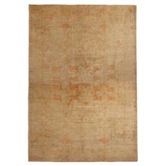 Antique Oushak Geometric Beige Wool Rug with Orange Accents