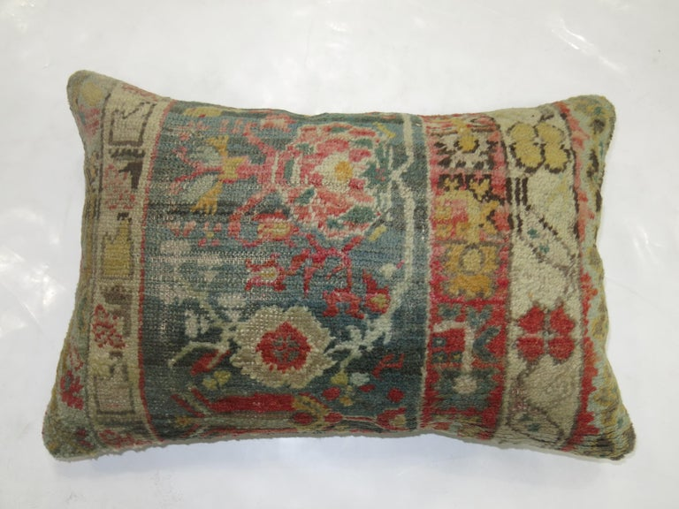 Antique Oushak Lumbar Pillow In Excellent Condition For Sale In New York, NY