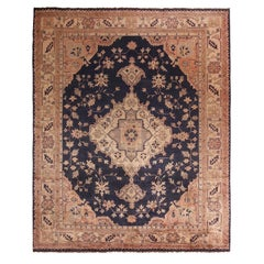 Antique Oushak Medallion-Style Beige and Blue Wool Rug with Peach Accents
