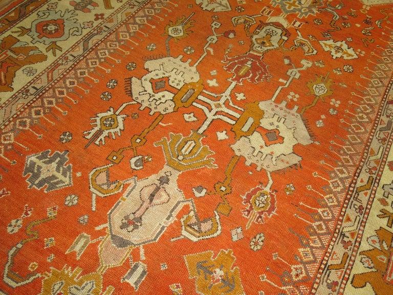 Antique Oushak Orange Rug For Sale 2