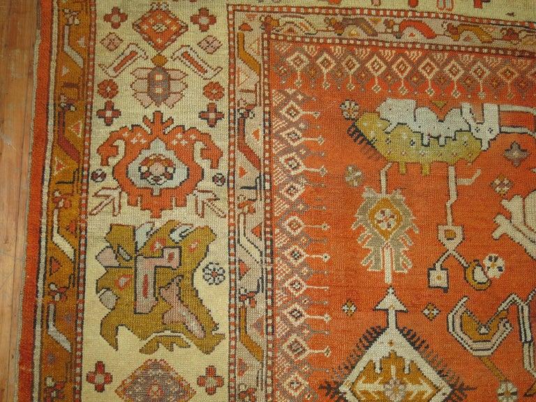 Antique Oushak Orange Rug For Sale 3