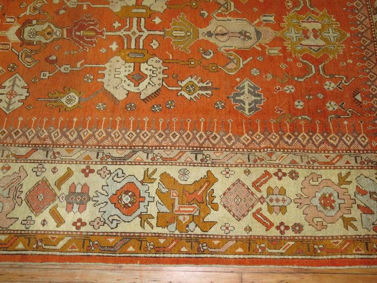 Turkish Antique Oushak Orange Rug For Sale