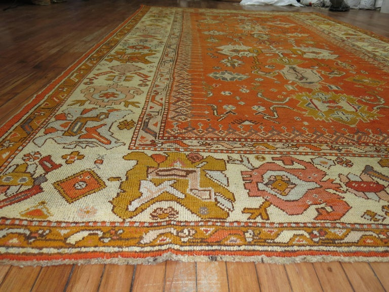 Antique Oushak Orange Rug In Excellent Condition For Sale In New York, NY