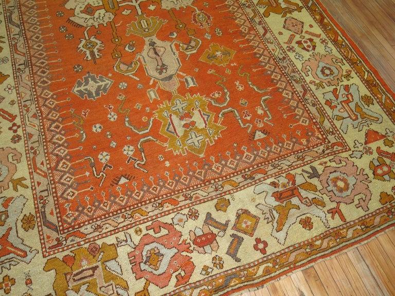 Late 19th Century Antique Oushak Orange Rug For Sale