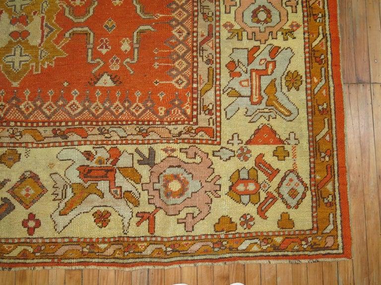Wool Antique Oushak Orange Rug For Sale