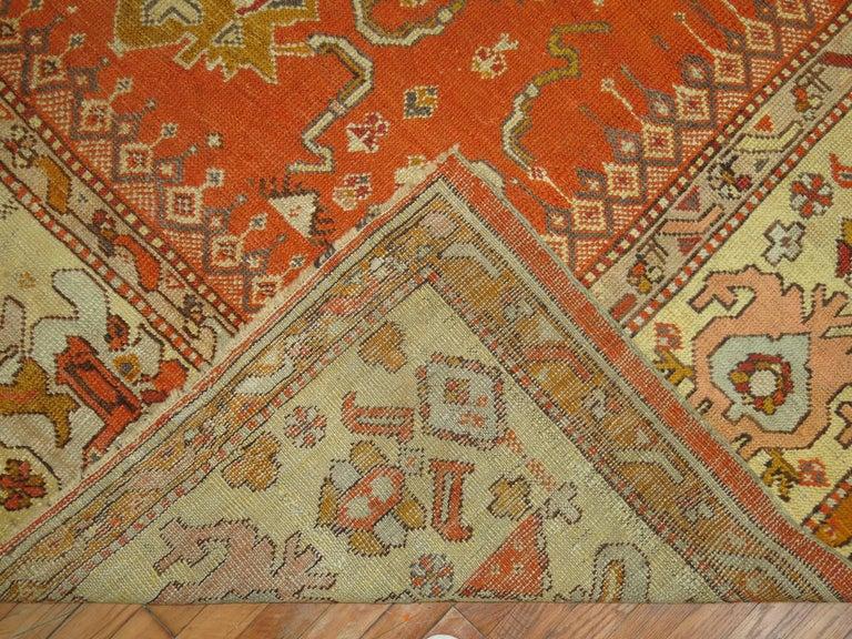 Antique Oushak Orange Rug For Sale 1