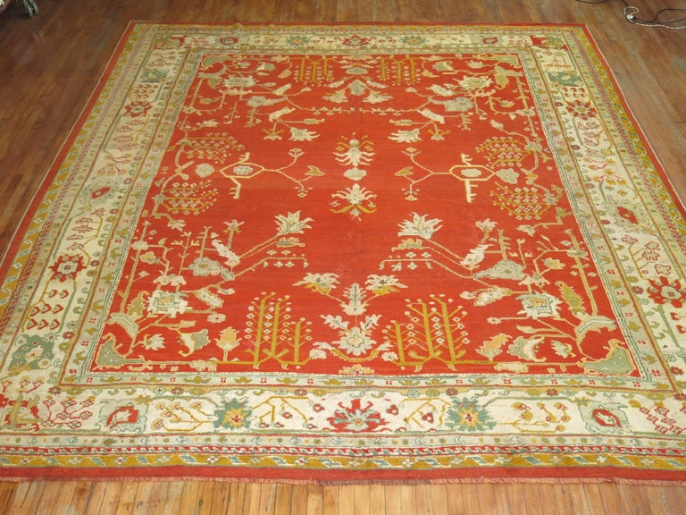 Hand-Woven Antique Oushak Rug For Sale