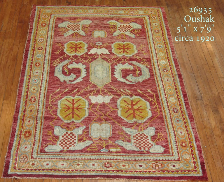 Early 20th Century Antique Oushak Rug For Sale