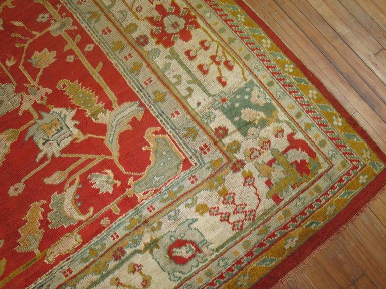Wool Antique Oushak Rug For Sale