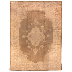 Antique Oushak Rug, Olive Brown Field, Orange Accents