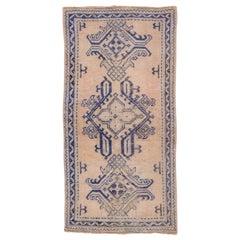 Antique Oushak Rug, Royal Blue Accents