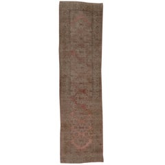 Antique Oushak Runner, Salmon and Pink Tones