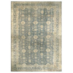 Antique Oushak Stone Blue and Tan Wool Rug