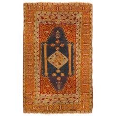 Antique Oushak Traditional Orange-Gold and Red Wool Rug