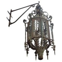 Antique Outdoor Lamp, Lantern, Iron Green, 1800, Asia