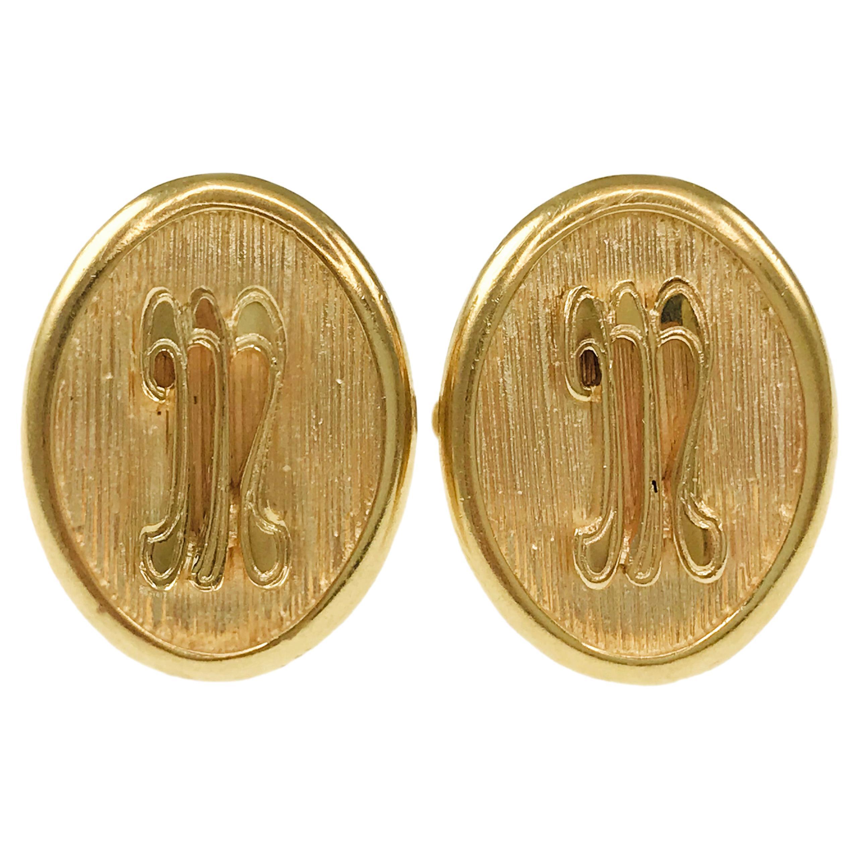 Antique Oval 14 Karat Gold Cufflinks