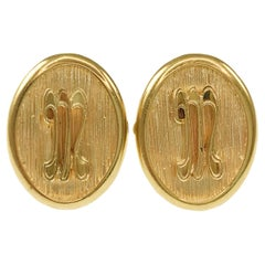 Antique Oval 14 Karat Gold Cufflinks