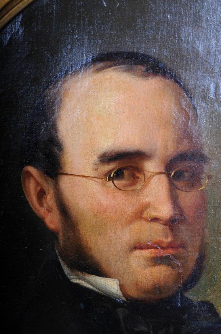 German Antique Oval Biedermeier Gentlemen's Portrait / Painting, 19th Century For Sale