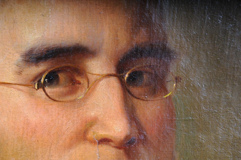Hand-Painted Antique Oval Biedermeier Gentlemen's Portrait / Painting, 19th Century For Sale