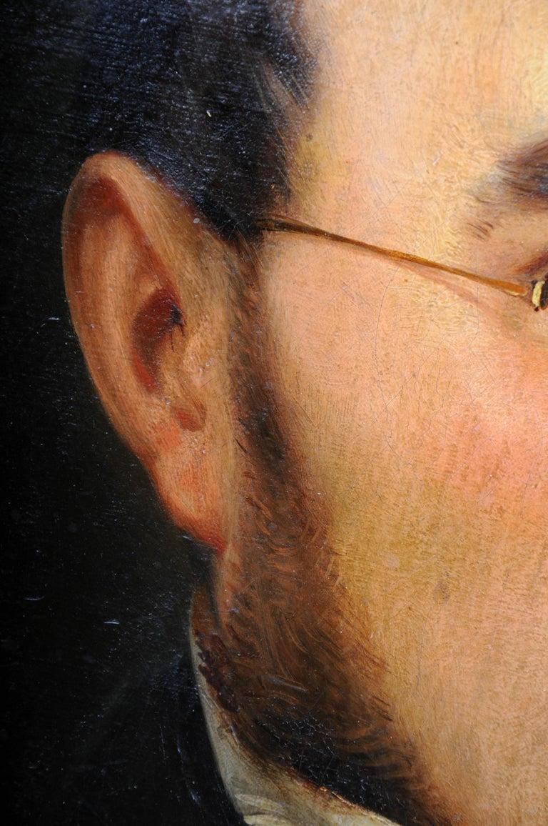 Canvas Antique Oval Biedermeier Gentlemen's Portrait / Painting, 19th Century For Sale