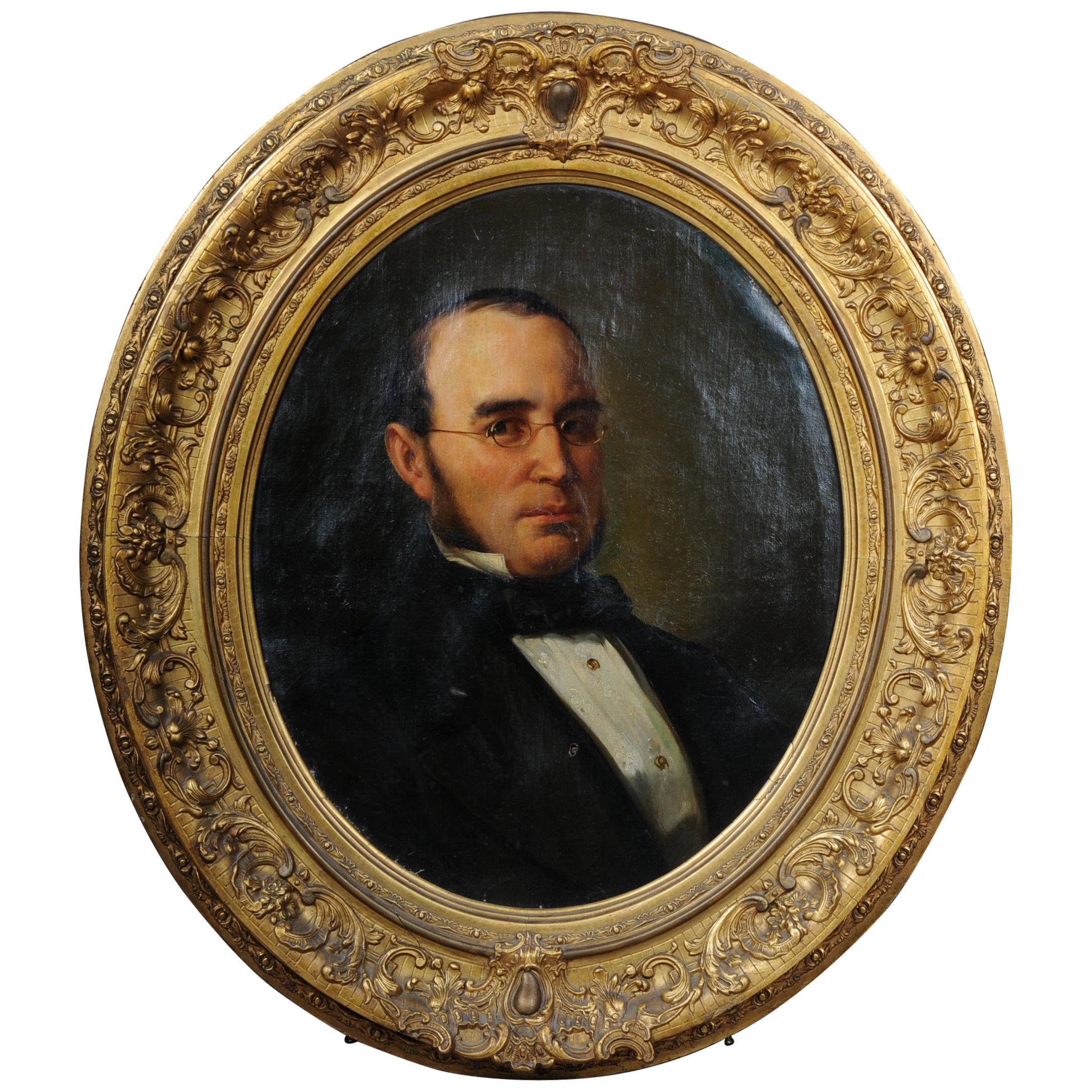 Antique Oval Biedermeier Gentlemen's Portrait / Painting, 19th Century