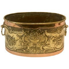Antique Oval Brass and Copper Jardinière, circa 1900