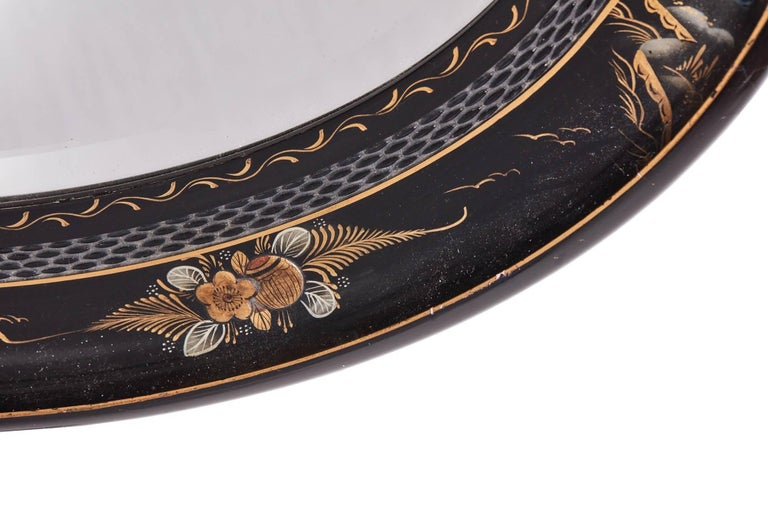 European Antique Oval Chinoiserie Lacquered Decorated Wall Mirror For Sale