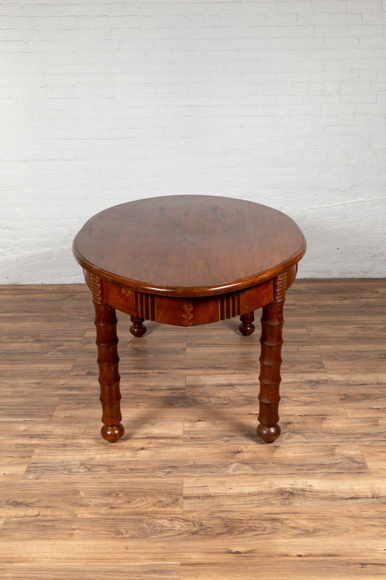 Antique Oval Dining Room Table from Indonesia with Spindle ...