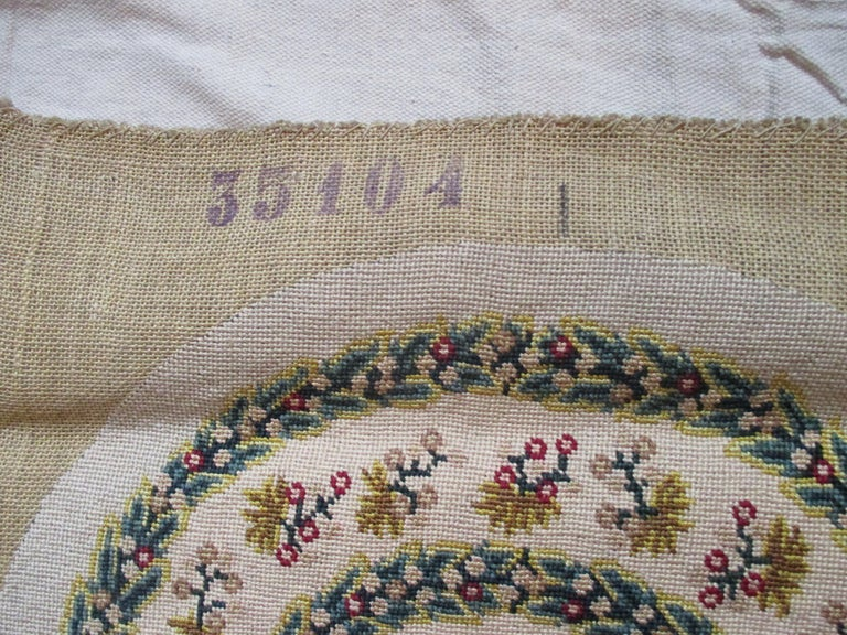 French Antique Oval Floral Aubusson Tapestry Seat Cover For Sale