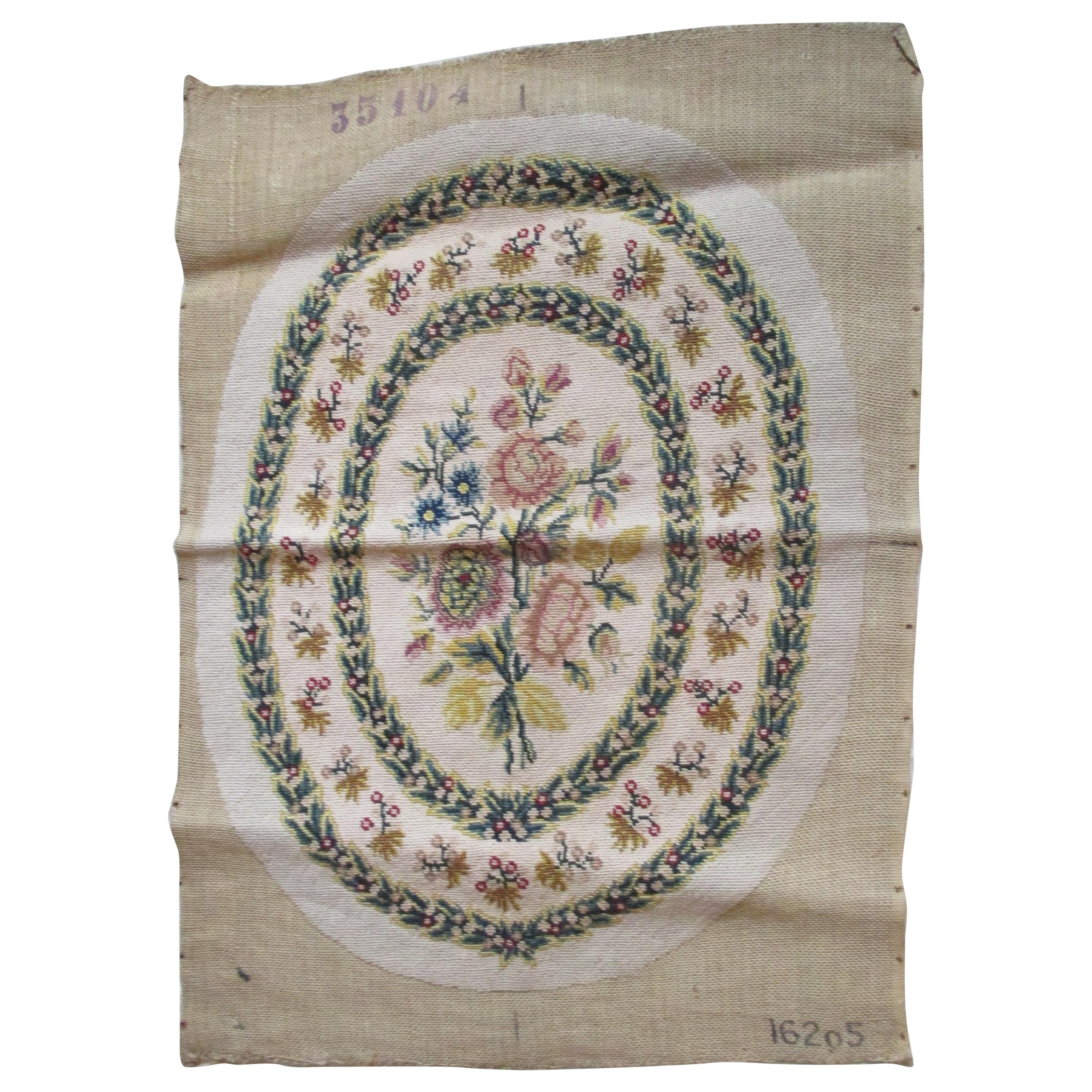 Antique Oval Floral Aubusson Tapestry Seat Cover