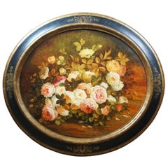 Antique Oval Floral Still Life Oil Painting on Canvas by F. Vgolini Italian