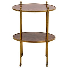 Antique Oval Fruitwood and Brass Two Tiered Side Table