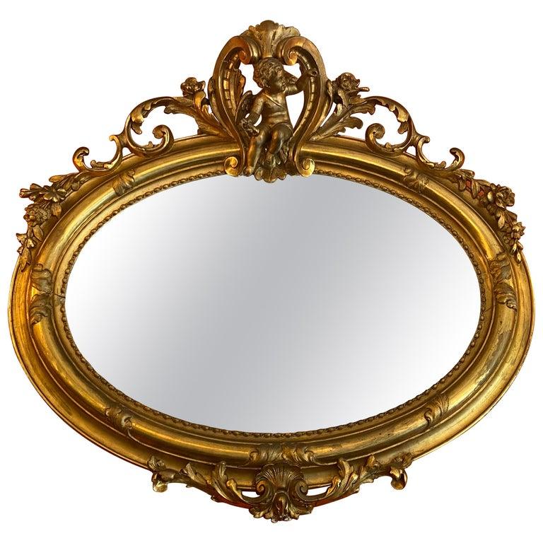 Ovalspiegel Antique Wood Frame Art Nouveau Silver Silver Wall Mirror Oval