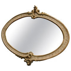 Antique Oval Ivory Lacquered Mirror with Golden Scrolls, 19th Century, Italy