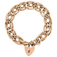 Antique Oval Link Bracelet Edwardian 9 Karat Rose Gold Day Night Heart Padlock