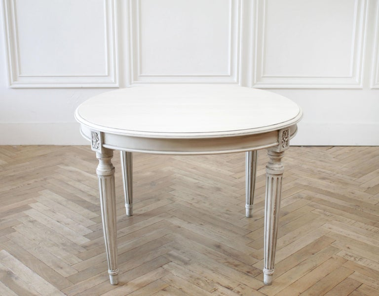 Antique oval Louis XVI style painted dining table