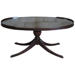 Antique Oval Mahogany Duncan Phyfe Pedestal Coffee Tea Table w Glass Top