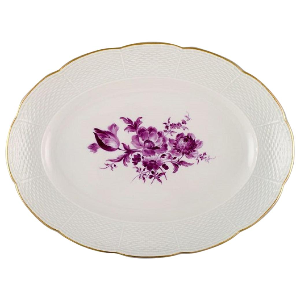 Antique Oval Meissen Serving Dish in Hand Painted Porcelain with Purple Flowers