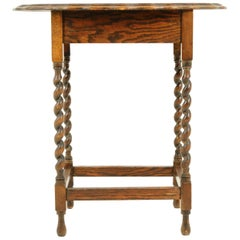 Antique Oval Oak End Table, Barley Twist Occasional Table, Scotland 1930, B2402