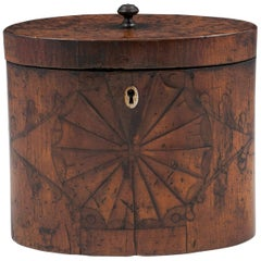 Antique Oval Satinwood and Burr Elm Tea Caddy, 18th Century