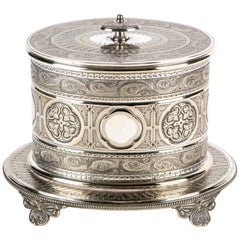 Antique Oval Silver Plate Biscuit Box