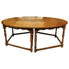 Antique Oval Table in Beechwood, Divisible 2 Half-Moons with 8 Legs, 1600, Italy