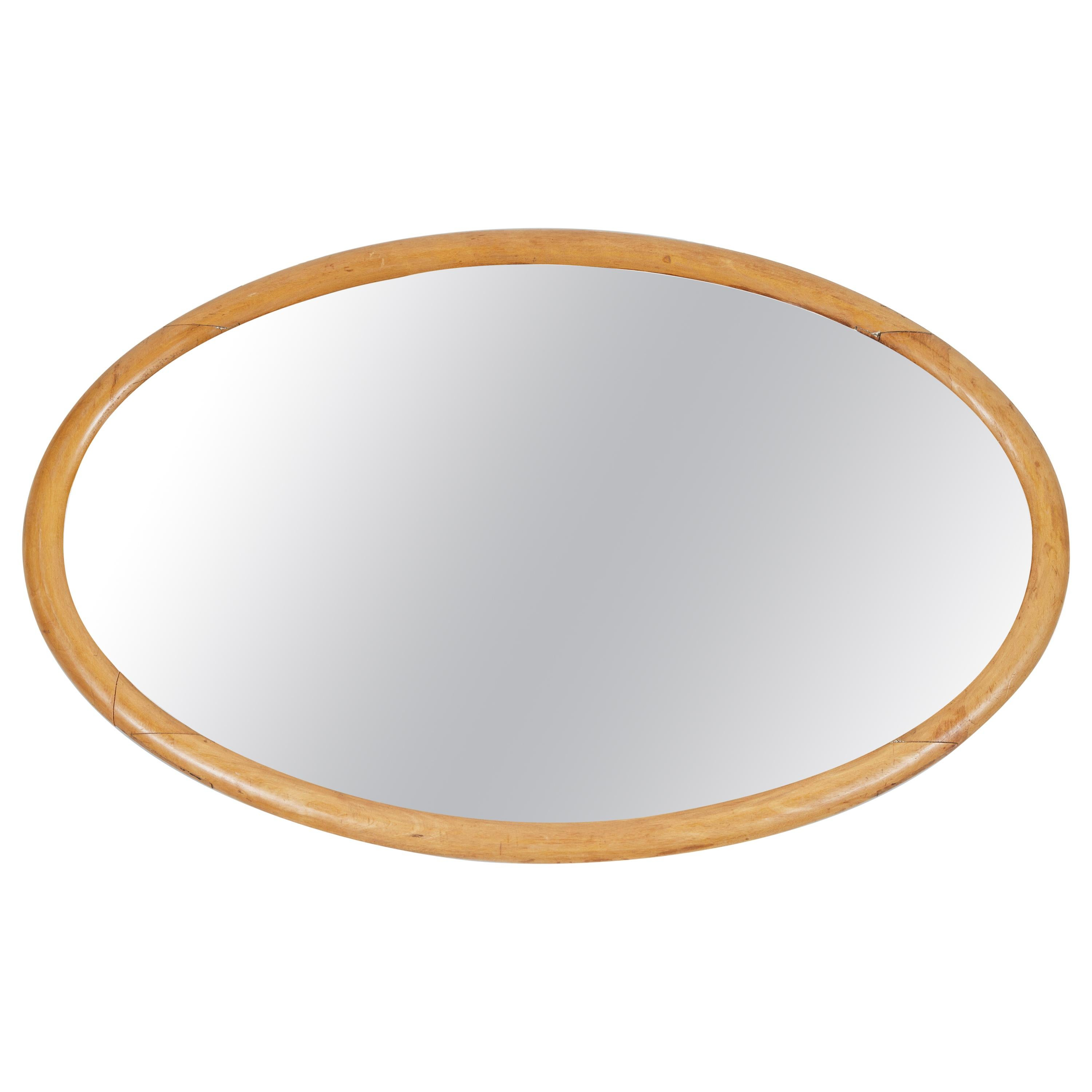 Antique Oval Wood Frame Mirror